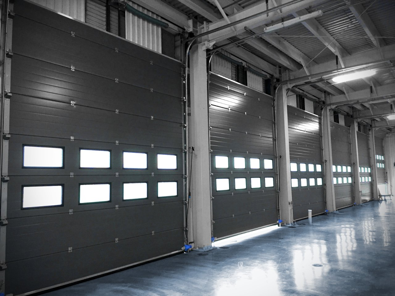 sectional doors from the inside of a building