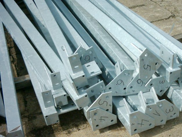 Welded parts of a steel front construction