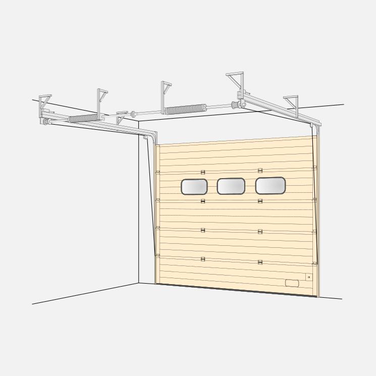 Low-Lintelheight Fitting Sectional Door (LH)