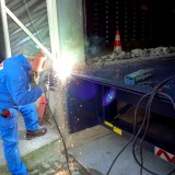 welding works on loading ramp